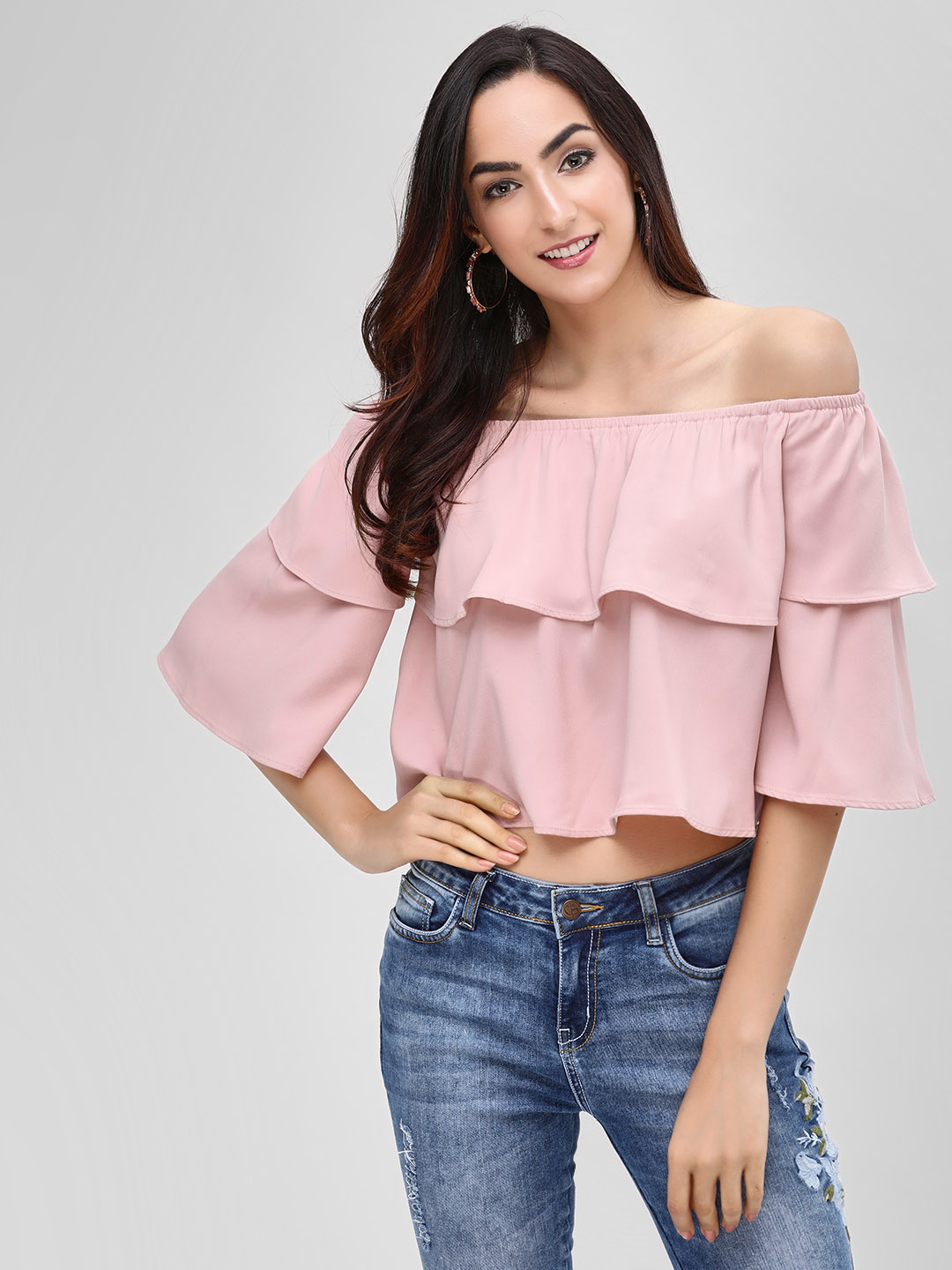 Cover Story Blush pink Tiered Off-Shoulder Top 1