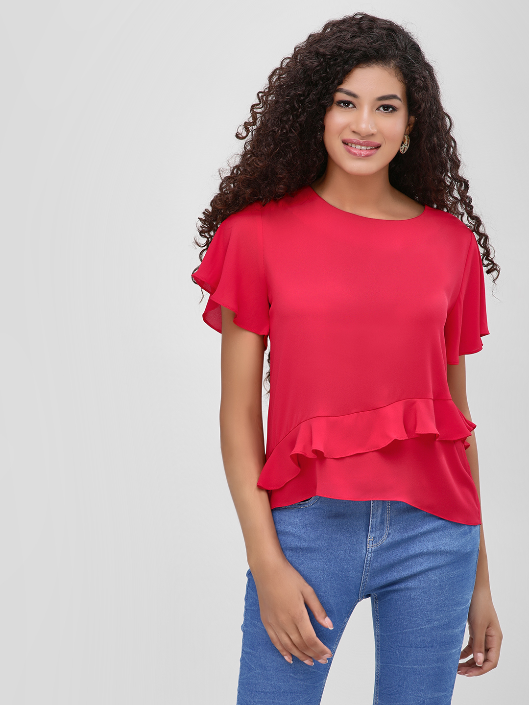 Cover Story Red Ruffle Detail Short Sleeve Blouse 1