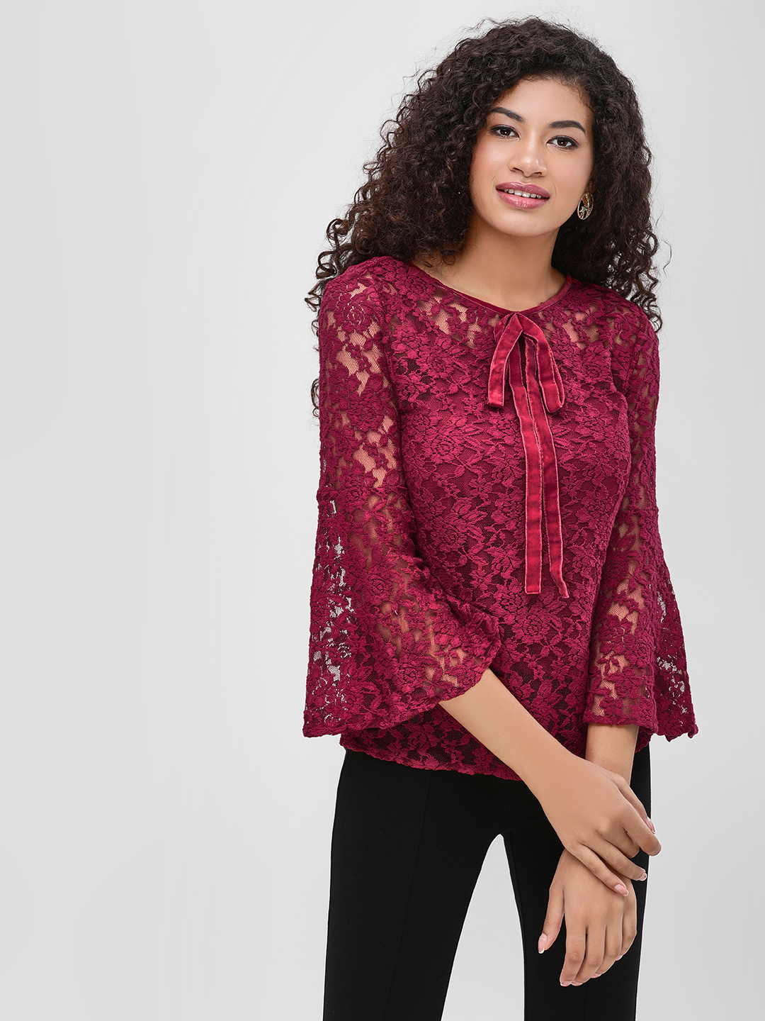Cover Story Wine Lace Blouse With Flared Sleeves 1