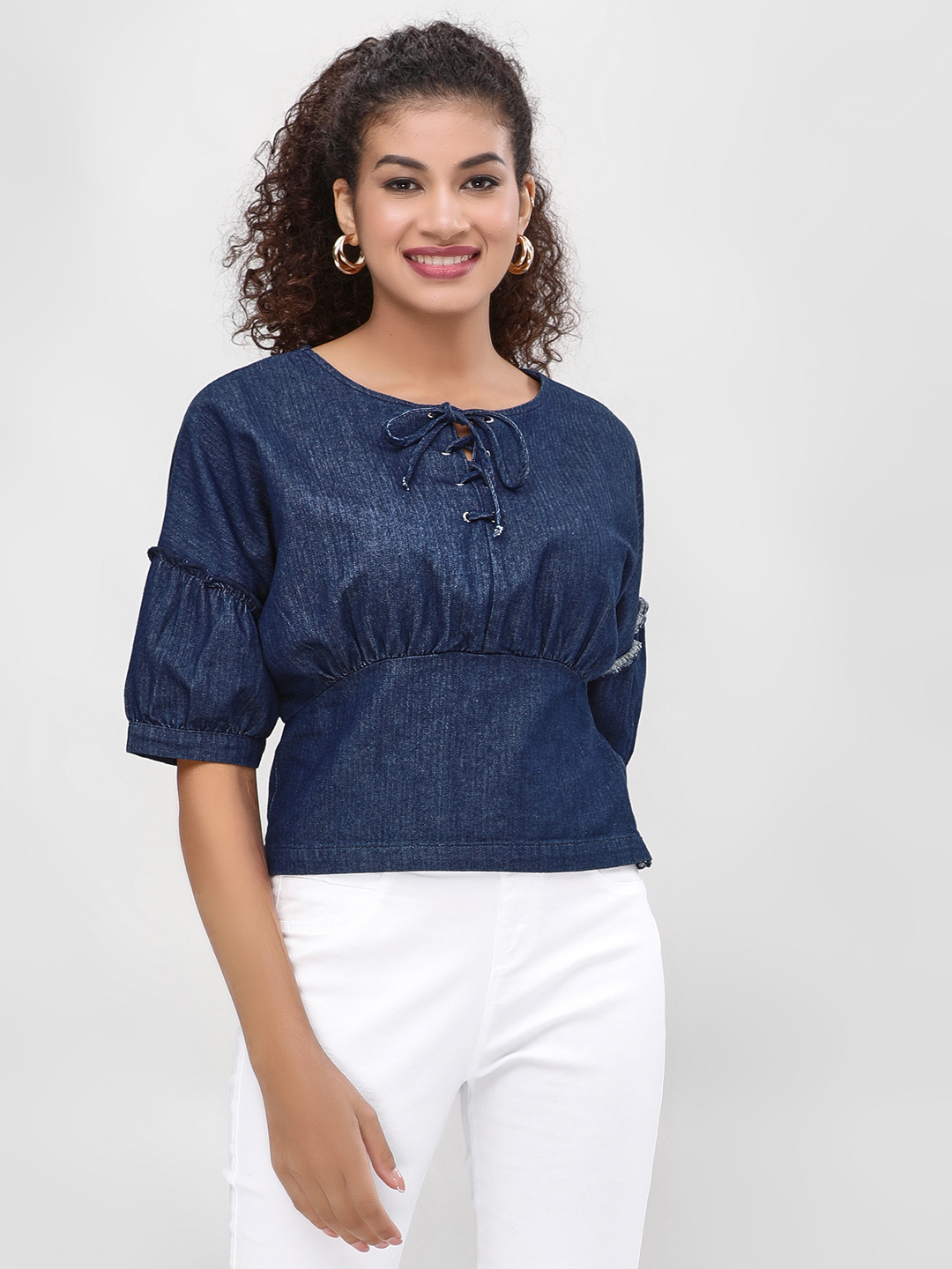 Cover Story Blue Corset Denim Blouse 1