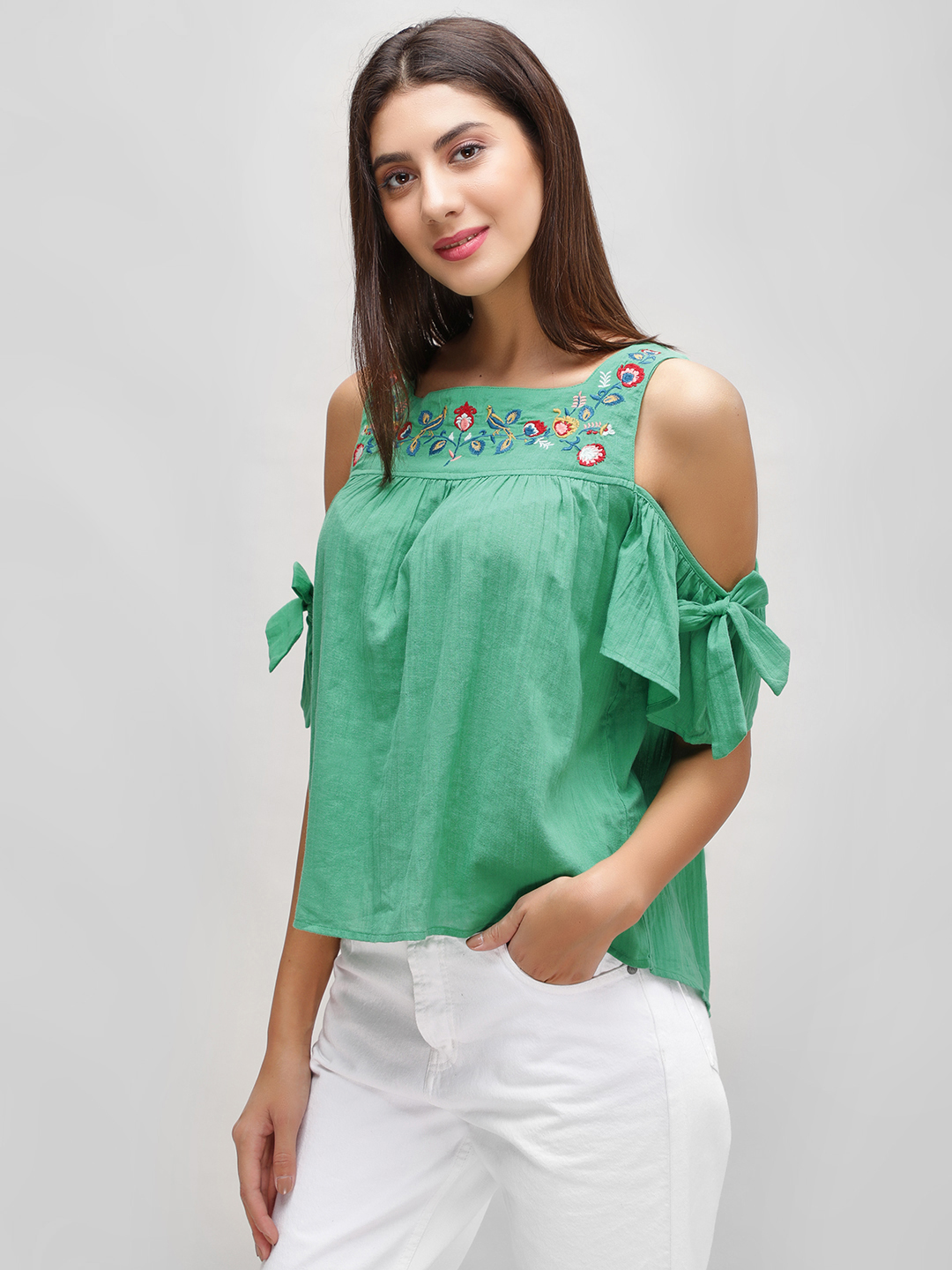 Cover Story Green Floral Embroidered Cold Shoulder Top 1