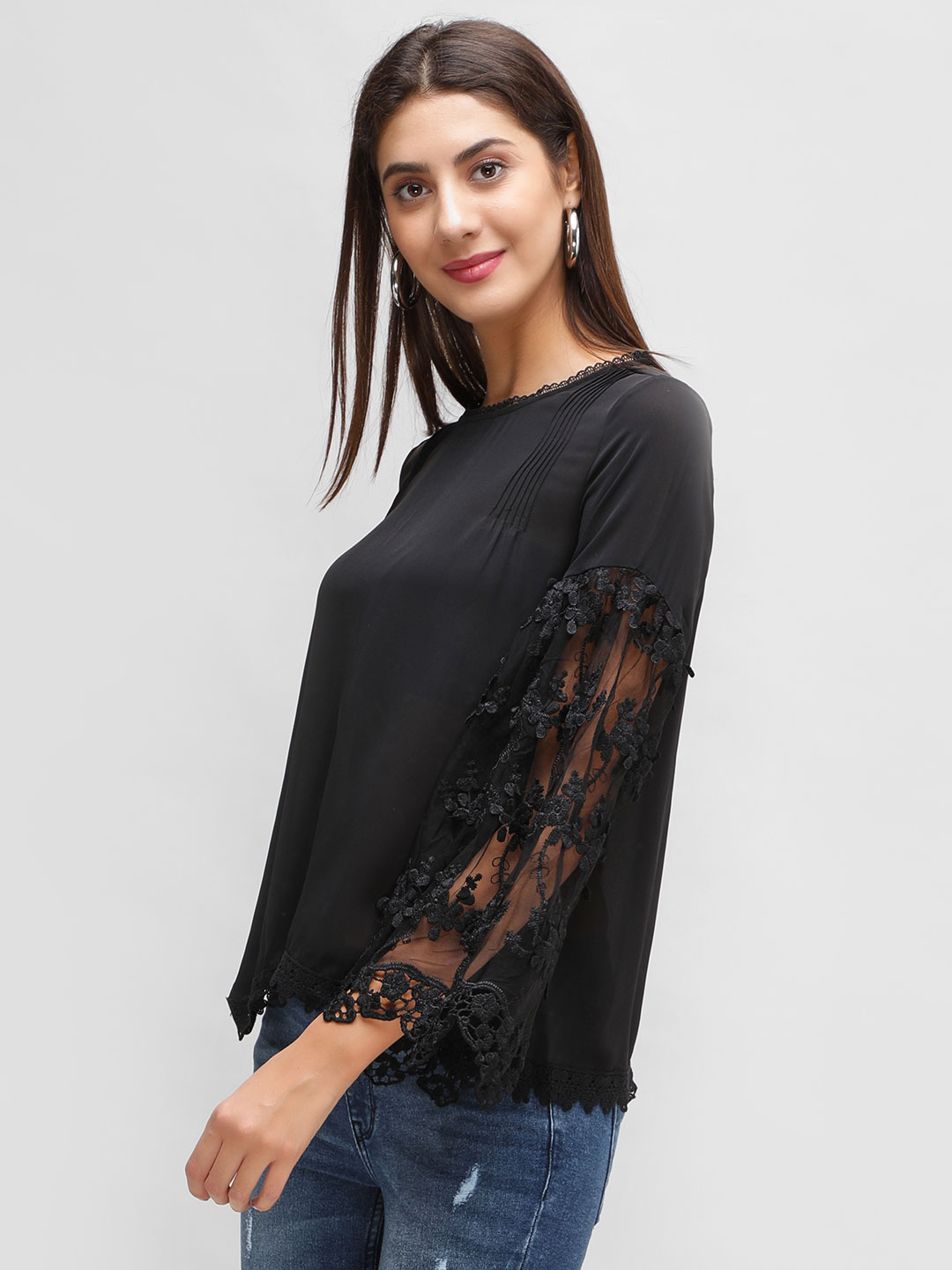 Cover Story Black Lace Detail Blouse 1