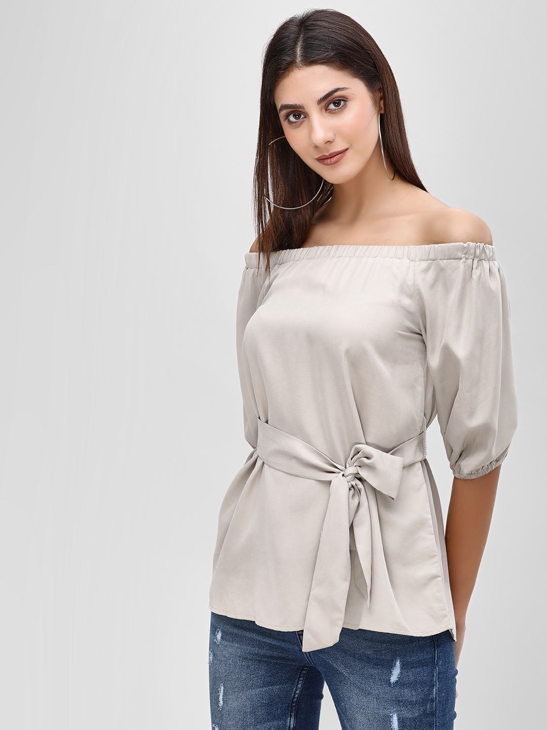 Cover Story Beige Belted Bardot Top 1