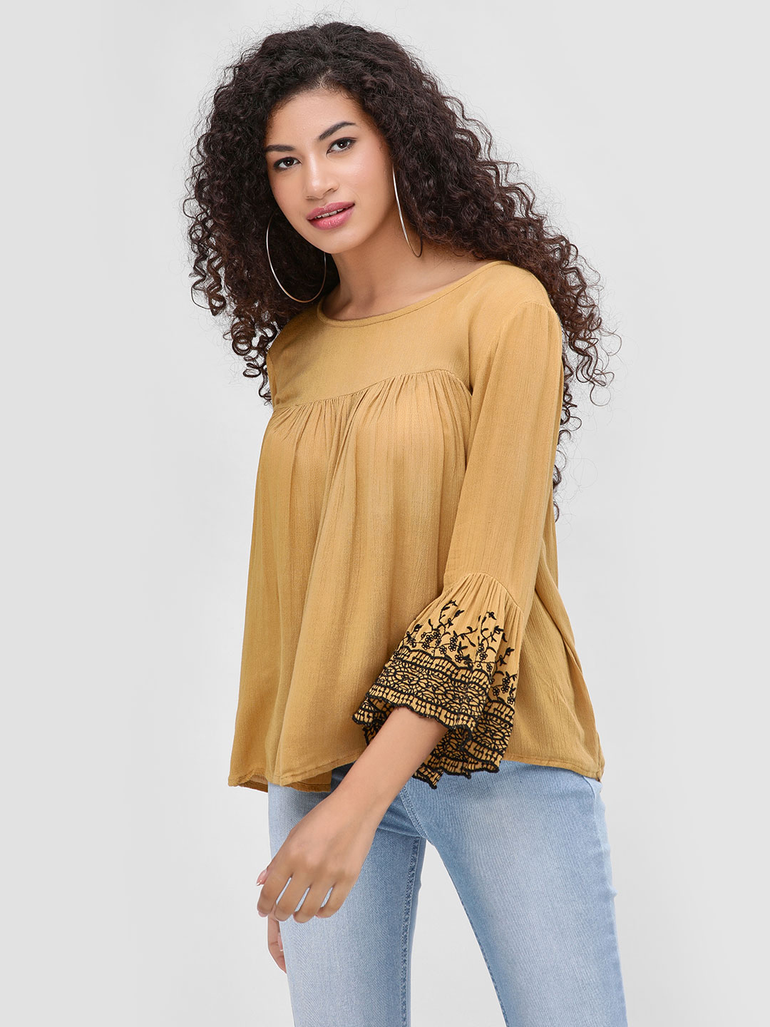 Cover Story Mustard Top With Flared Long Sleeves 1