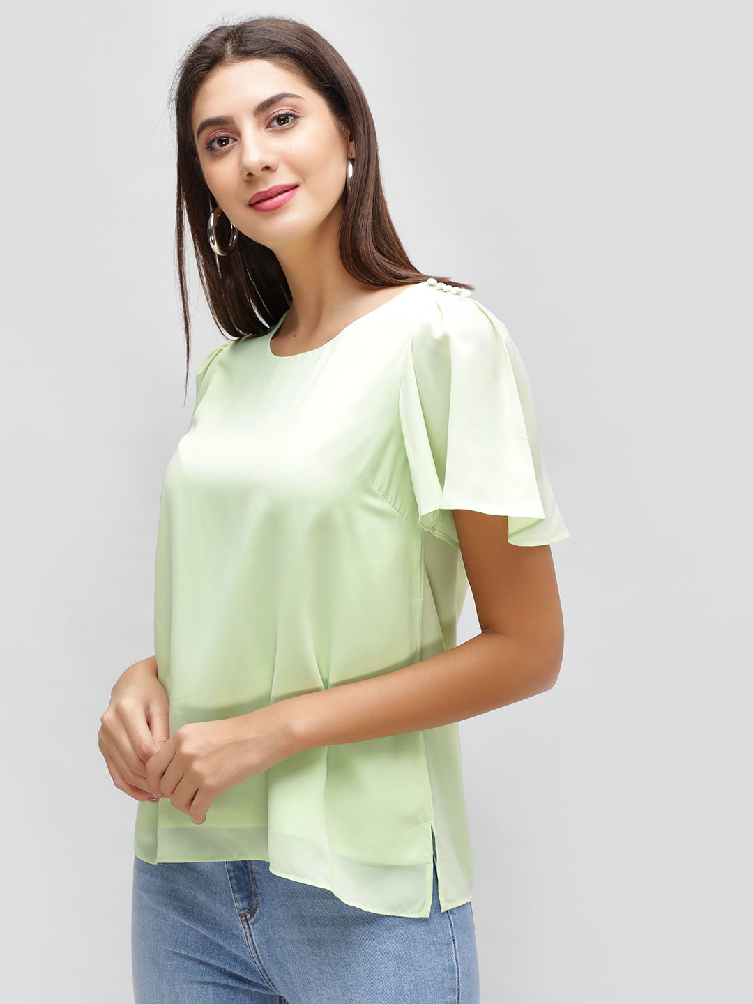 Cover Story Mint Flared Sleeve Top 1