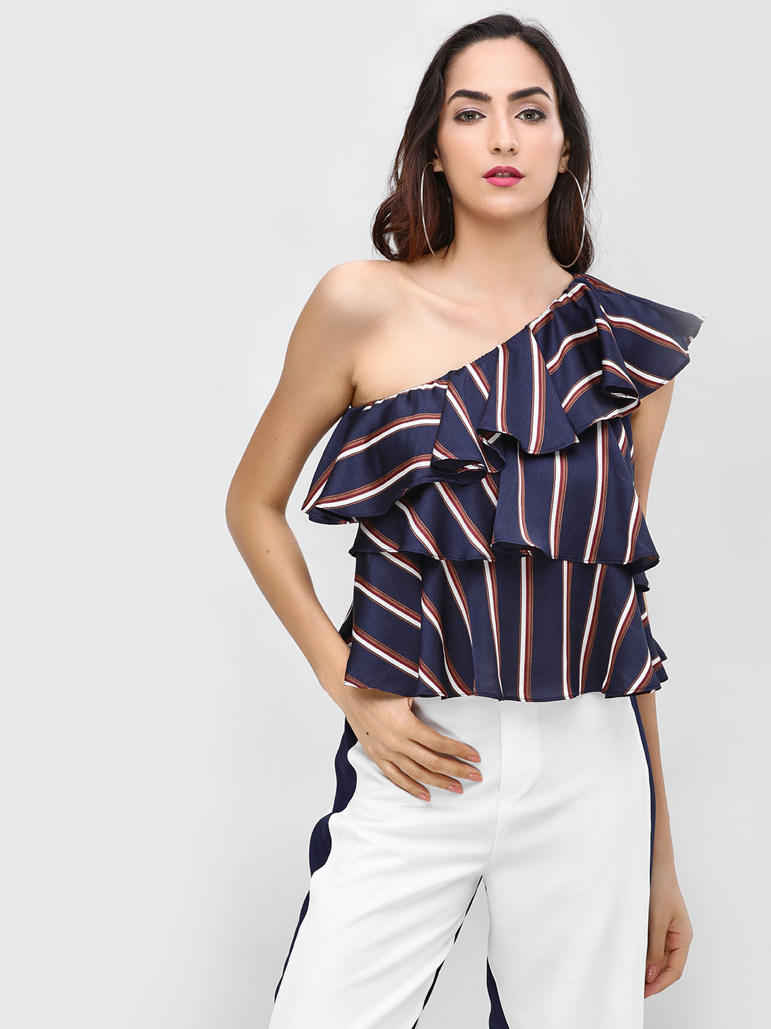 Cover Story Navy Tiered Ruffle Striped Top 1