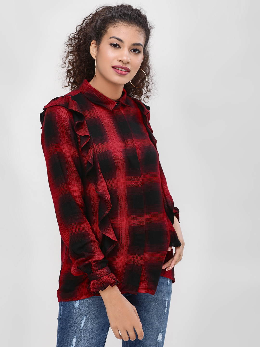 Cover Story Red Frill Side Checkered Shirt 1