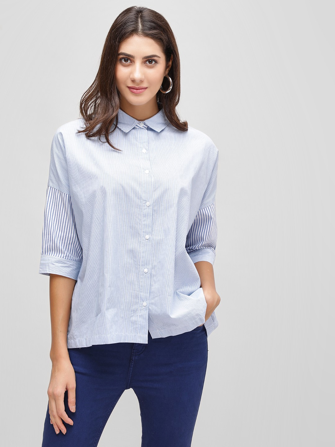 Cover Story Blue Striped Button Down Oversized Shirt 1