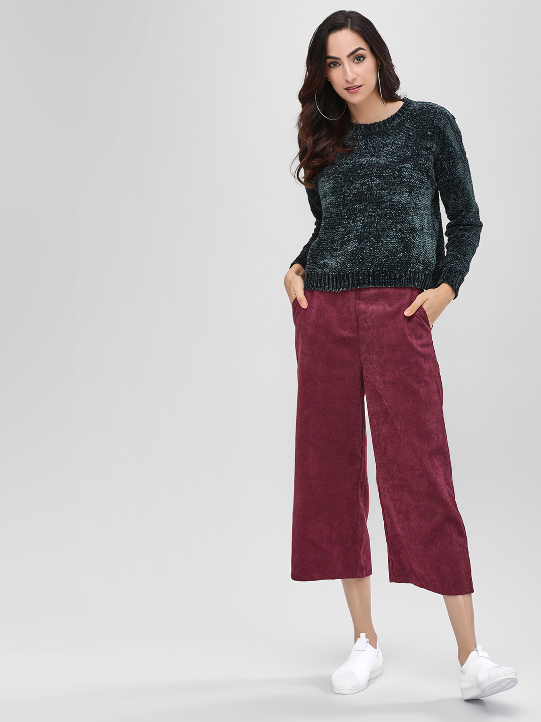Cover Story Wine Corduroy Culottes 1