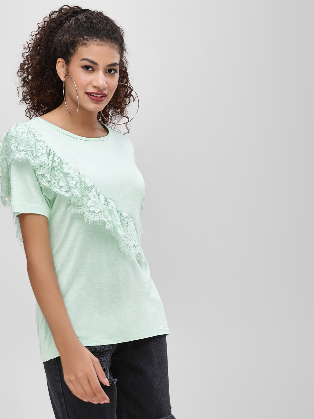 Cover Story Mint Lace Frill Detail Blouse 1