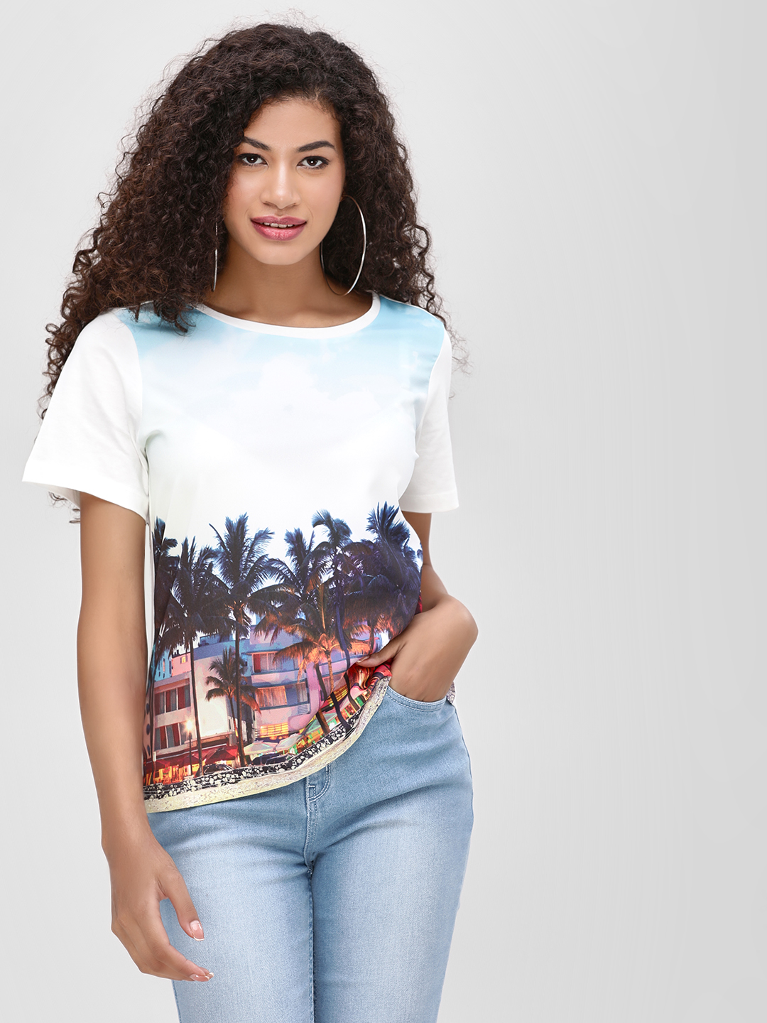 Cover Story Multi Tropical Print Short Sleeve T-Shirt 1