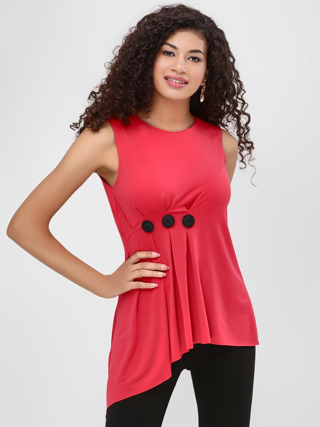 Cover Story Red Sleeveless Asymmetric Blouse 1