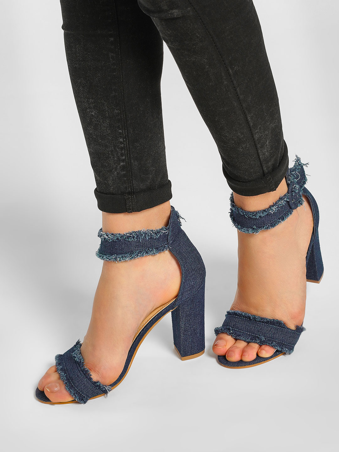 Happy Feet Blue Fringe Denim Heeled Sandals 1