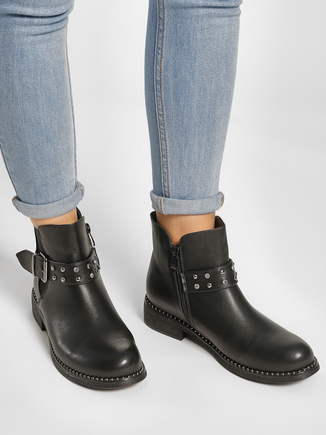 Happy Feet Black Studded Buckle Detail Ankle Boots 1