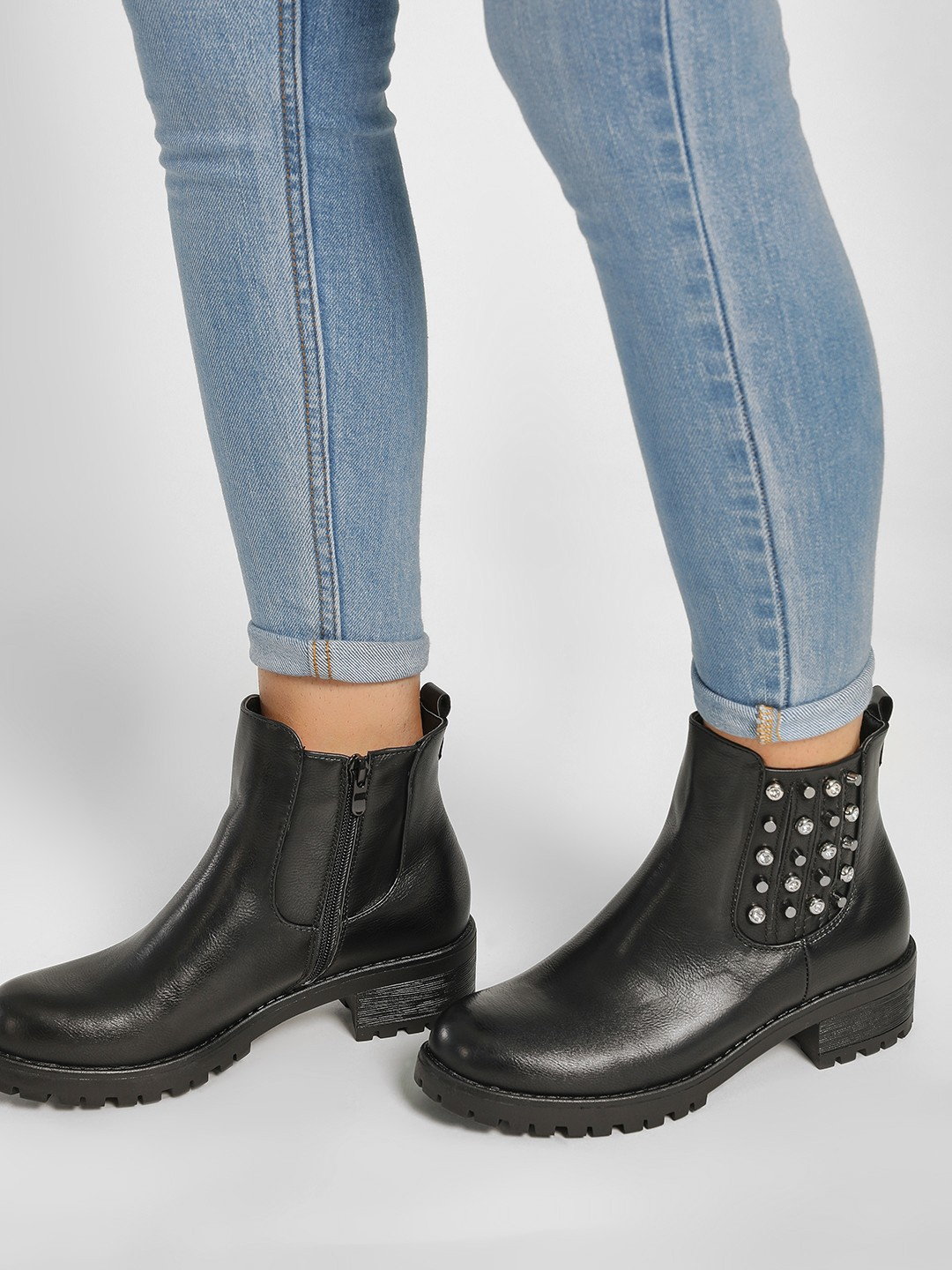 Happy Feet Black Stud & Diamante Embellished Boots 1