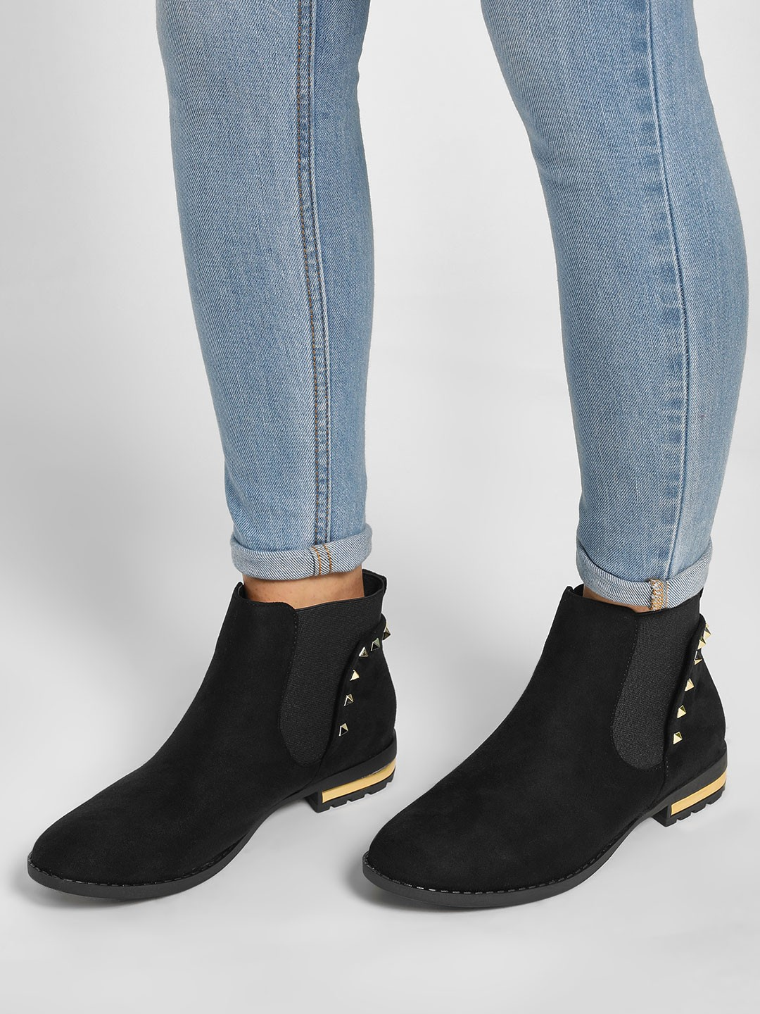 Happy Feet Black Studded Chelsea Boots 1