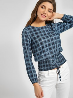 Lee Cooper Checkered Smocked Hem Top