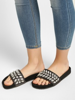 KOOVS Gem Embellished Slides