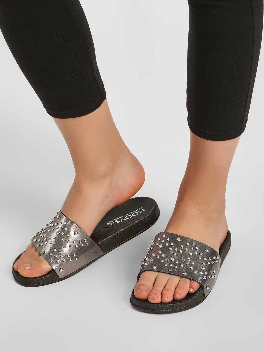 KOOVS GUNMETAL Studded Metallic Finish Slides 1