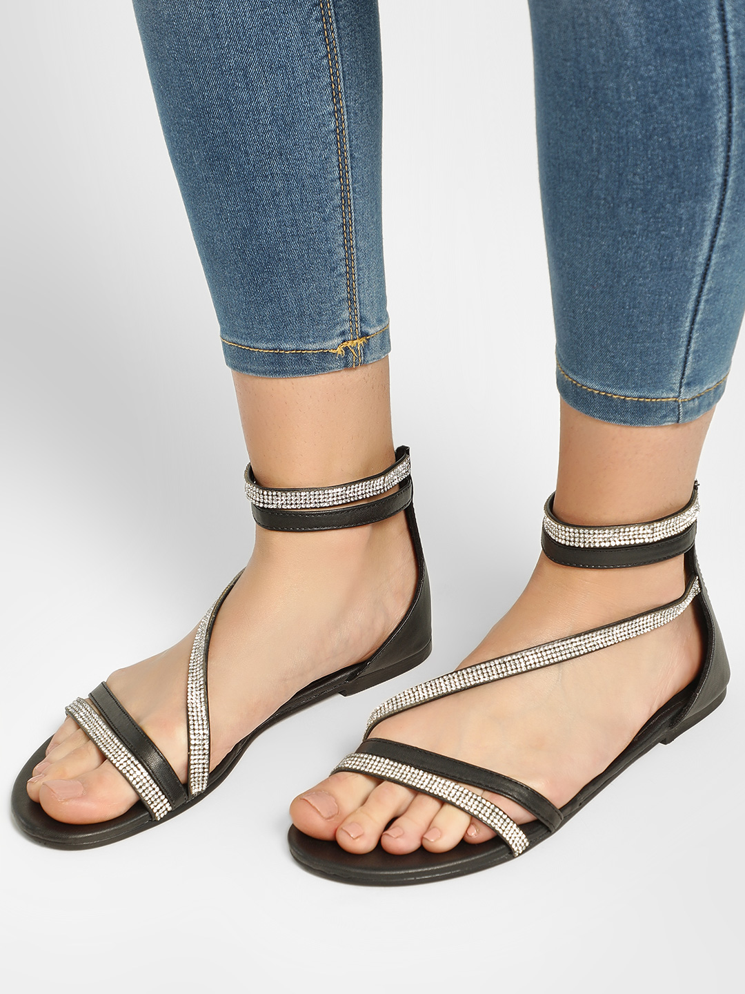 KOOVS Black Studded Strap Sandals 1