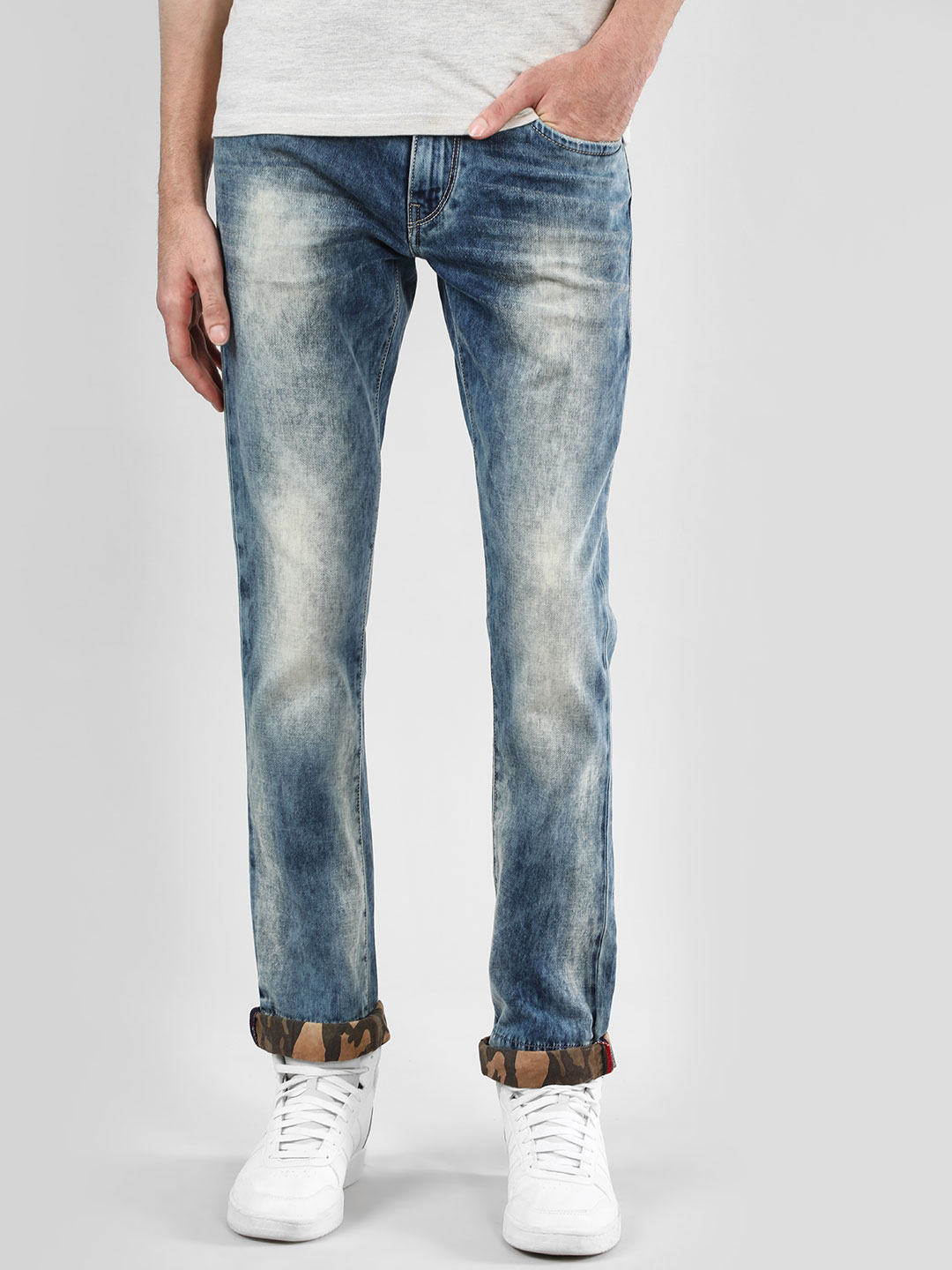 Flying Machine Blue Mid Rise Tapered Slim Jeans 1