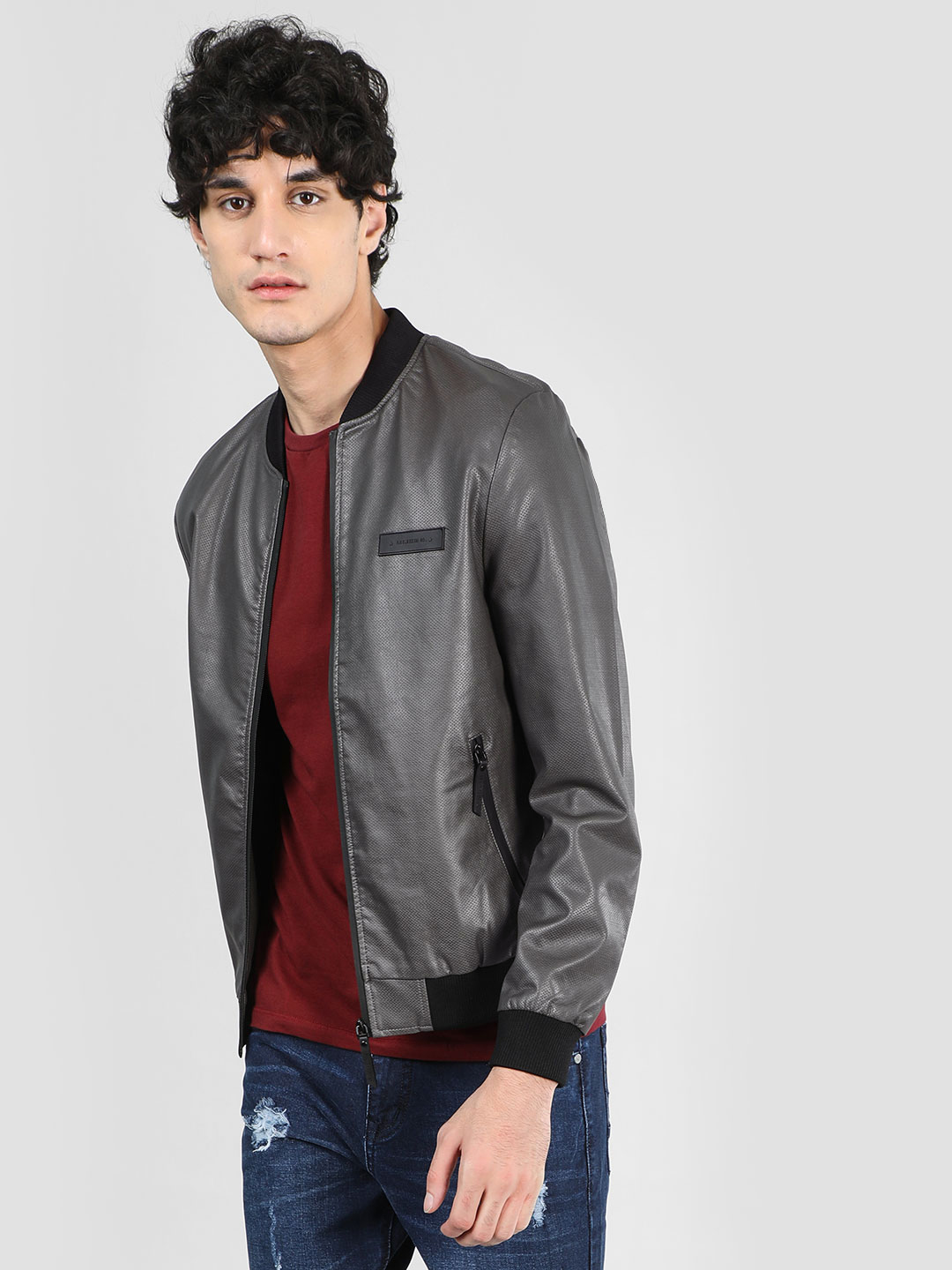 Flying Machine Grey Bomber Jacket With Texture 1