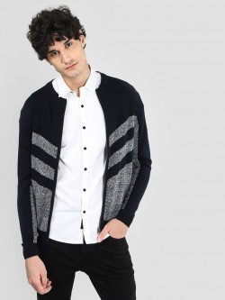 Flying Machine Textured Zipper Cardigan