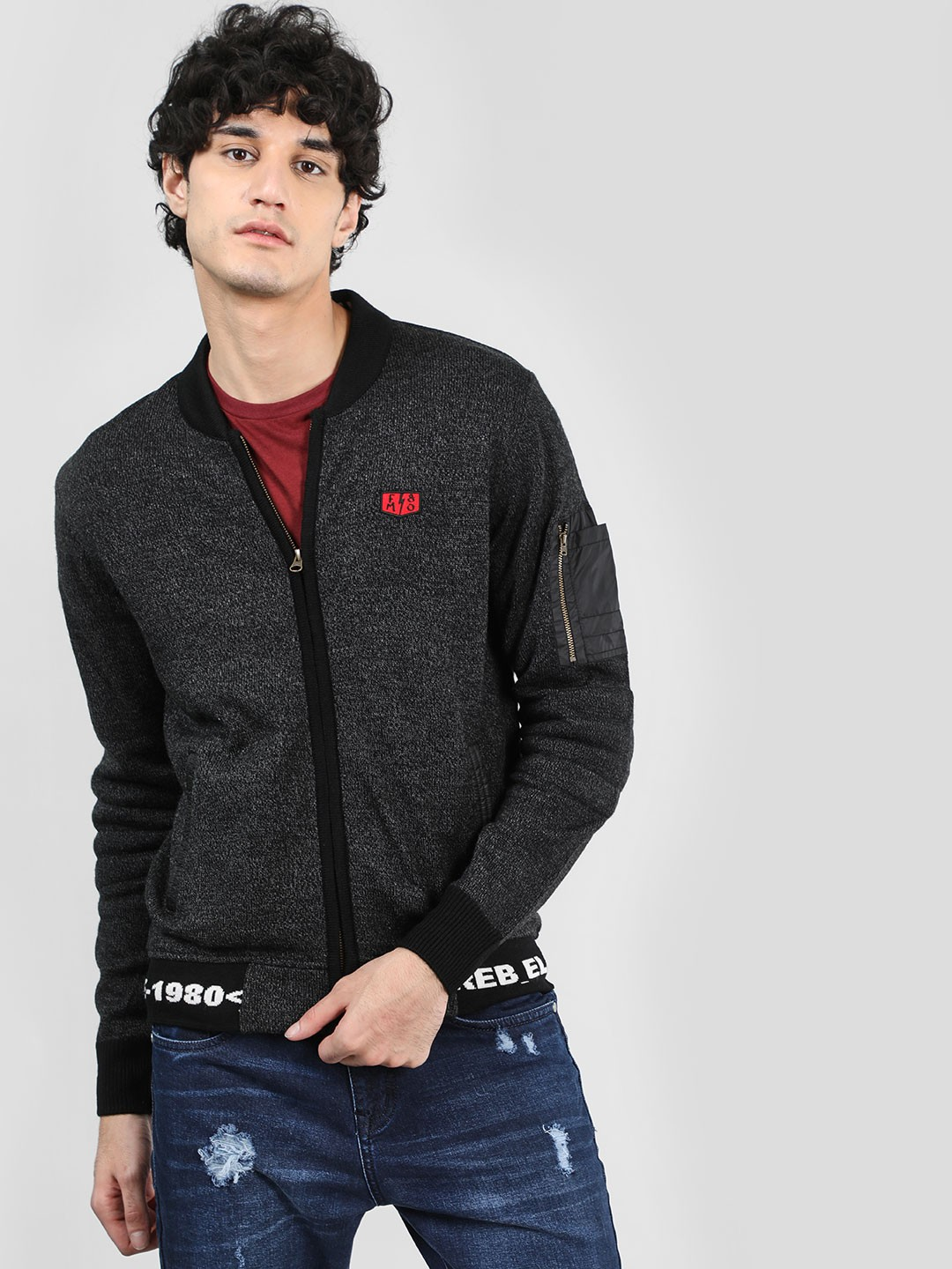 Flying Machine Black Front Open Embroidered Cardigan 1