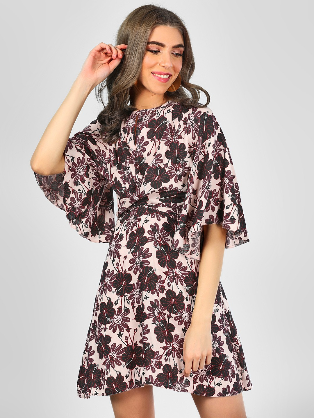 KOOVS Multi Floral Print Front Tie Knot Dress 1