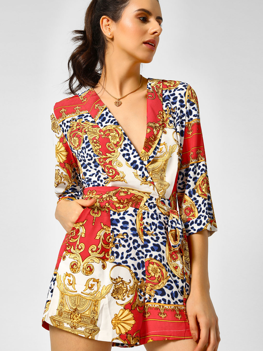 Moguland Red Baroque Wrap Over Playsuit 1