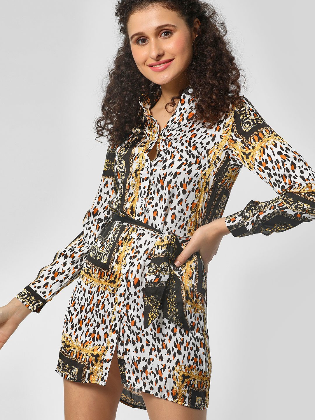 Moguland Black Leopard & Baroque Print Shirt Dress 1