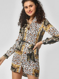 Moguland Leopard & Baroque Print Shirt Dress