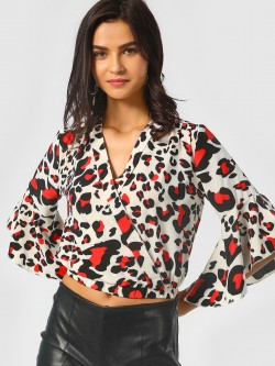 Moguland Leopard Print Wrap Crop Top