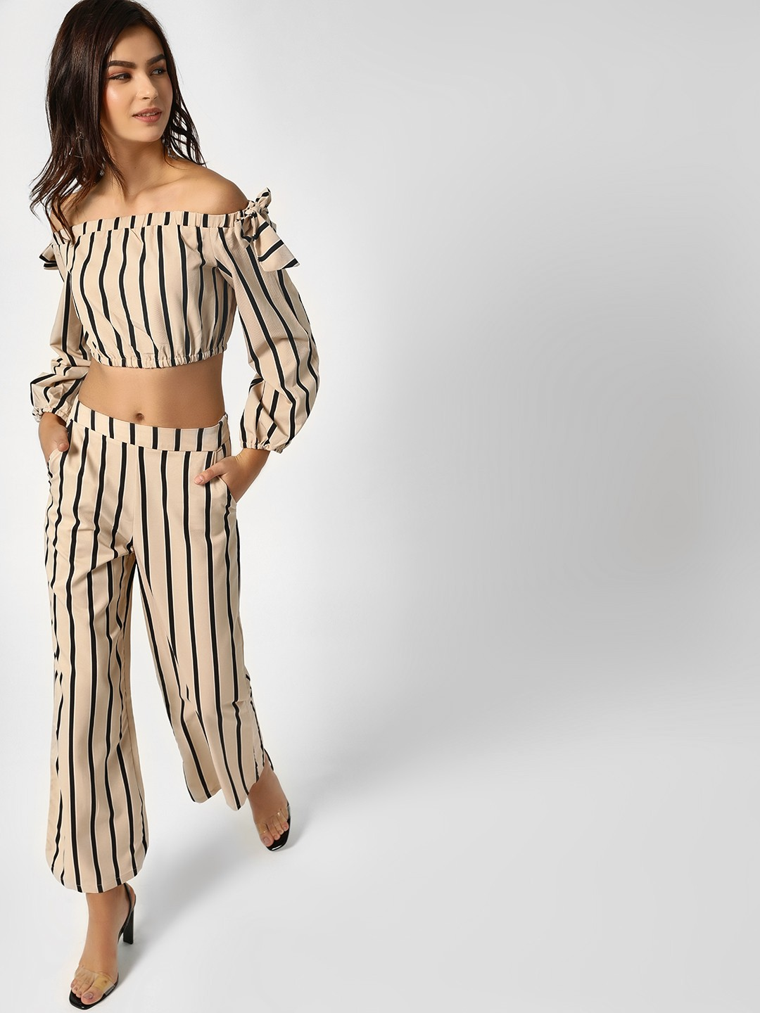 Moguland Pink Bardot Striped Co-ord Set 1