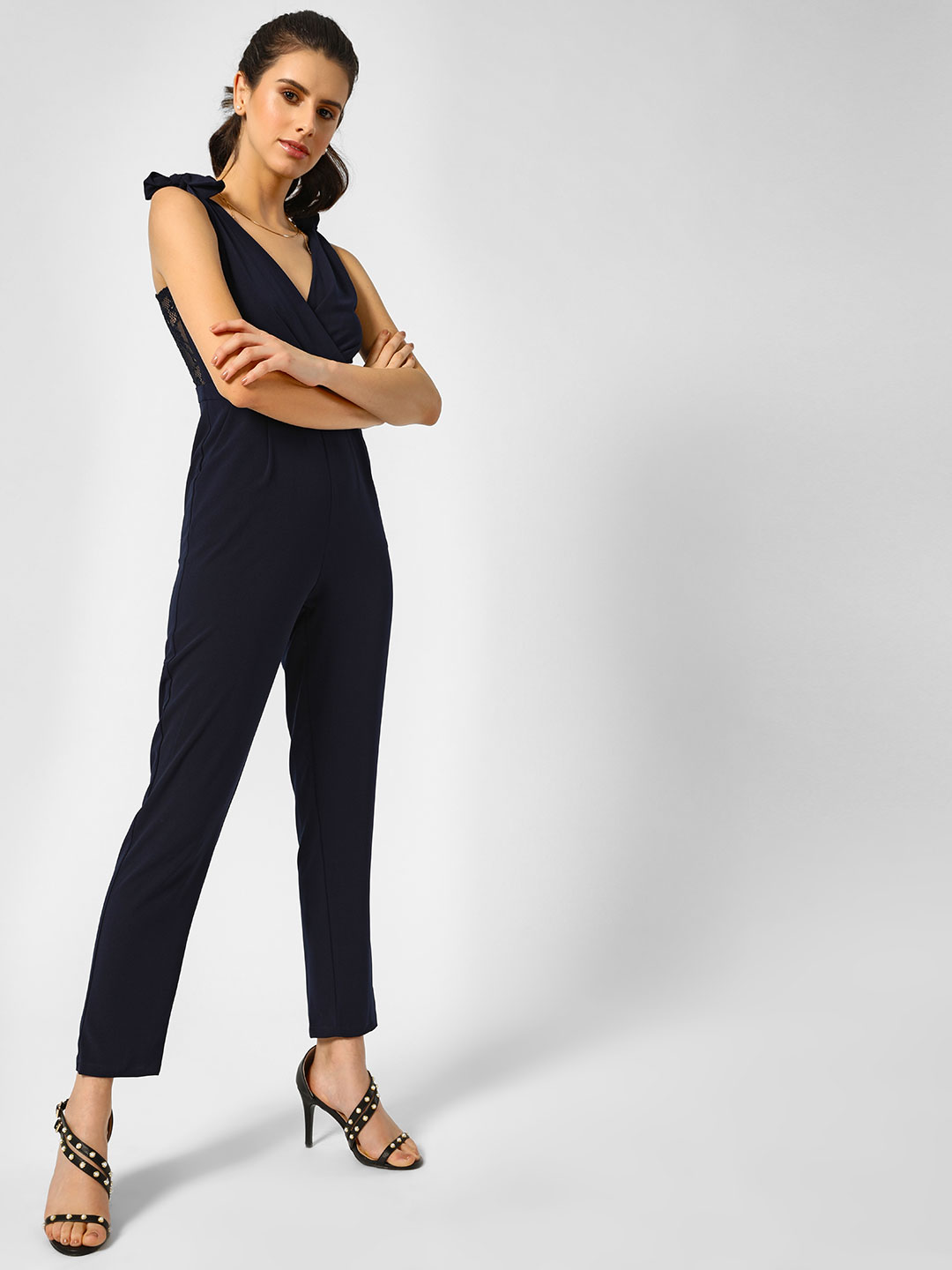 Moguland Blue Navy Tie-up Shoulder Jumpsuit 1