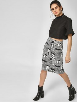 Lola May Patchwork Monochrome Midi Skirt