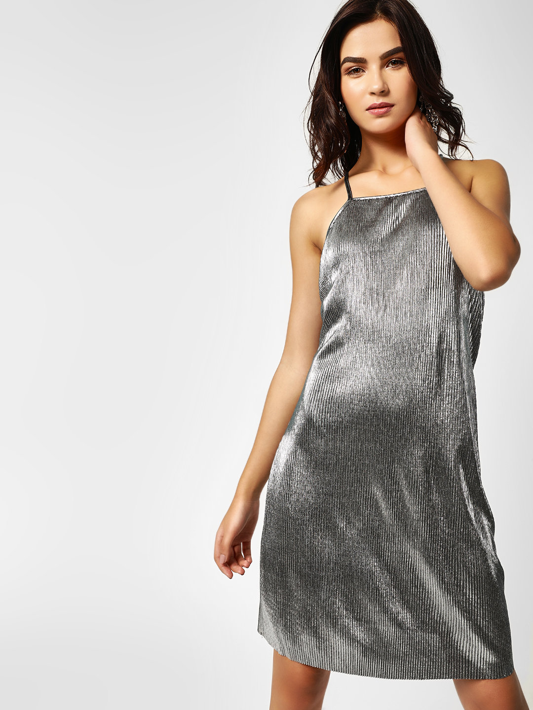 Lola May Silver Plisse Metallic Shift Dress 1