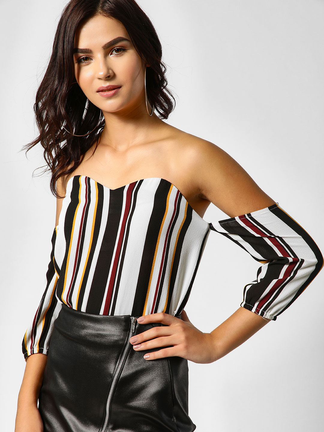 Lola May Multi Striped Bardot Bustier Top 1