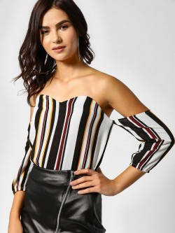 Lola May Striped Bardot Bustier Top