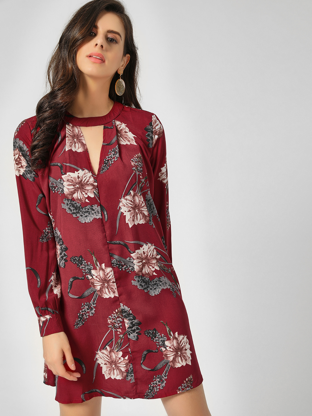Lola May Wine Full Sleeve Shift Dress 1