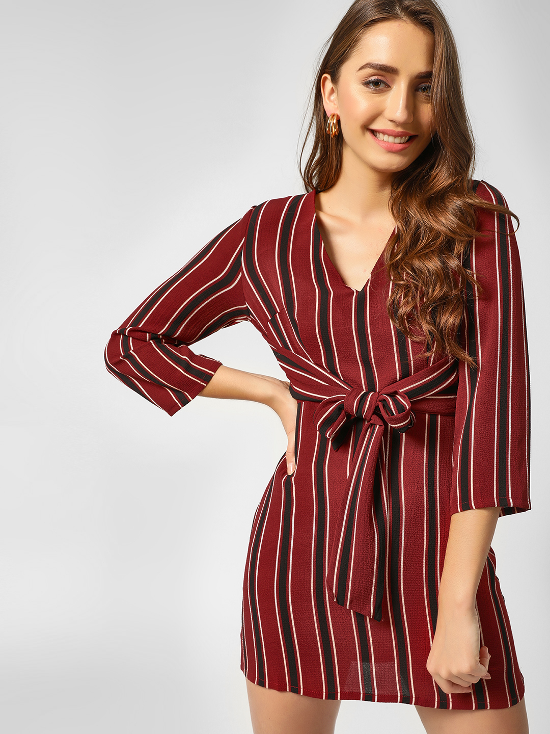 Lola May Wine Striped Front Knot Shift Dress 1