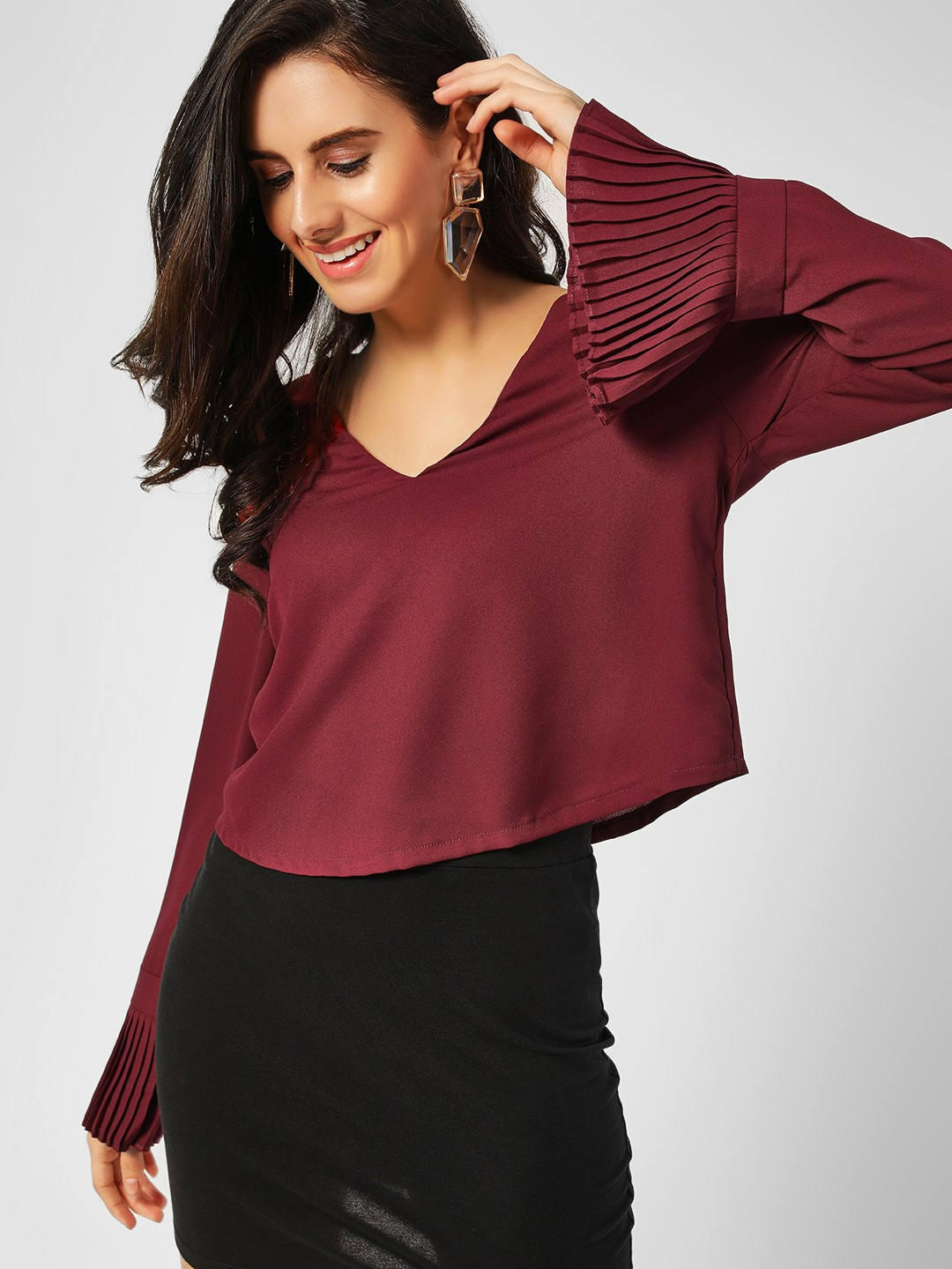 Lola May Wine Pleated Bell Sleeve Crop Top 1