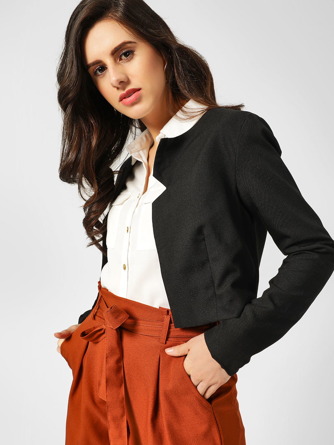 Lola May Black Lapel Cut-Out Cropped Jacket 1