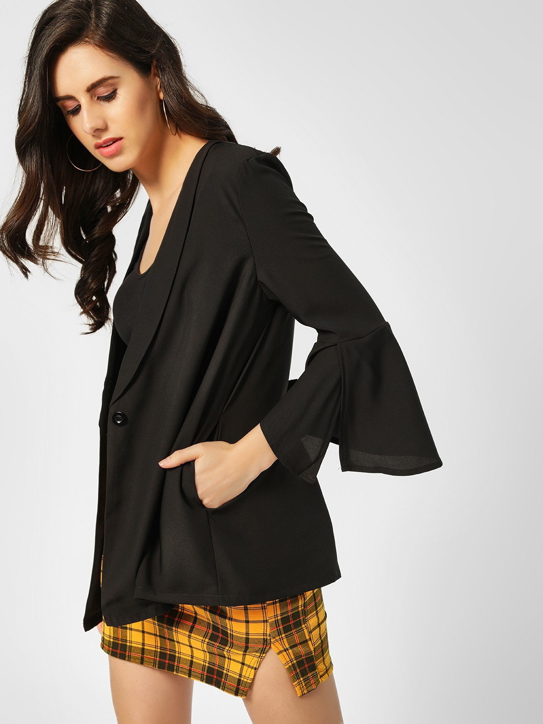 Lola May Black Bell Sleeve Relaxed Blazer 1