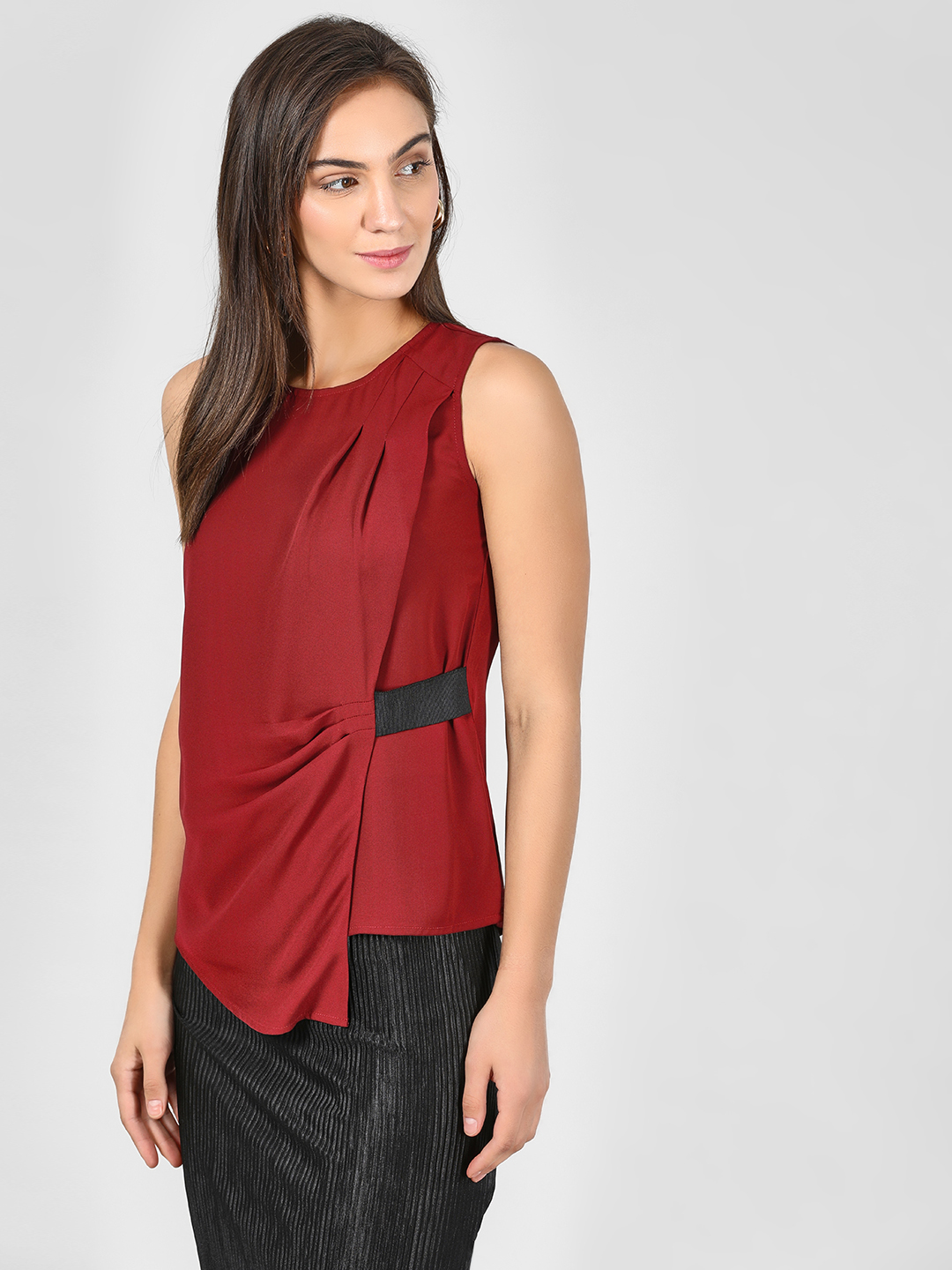 KOOVS Maroon Pleated Side Asymmetric Blouse 1