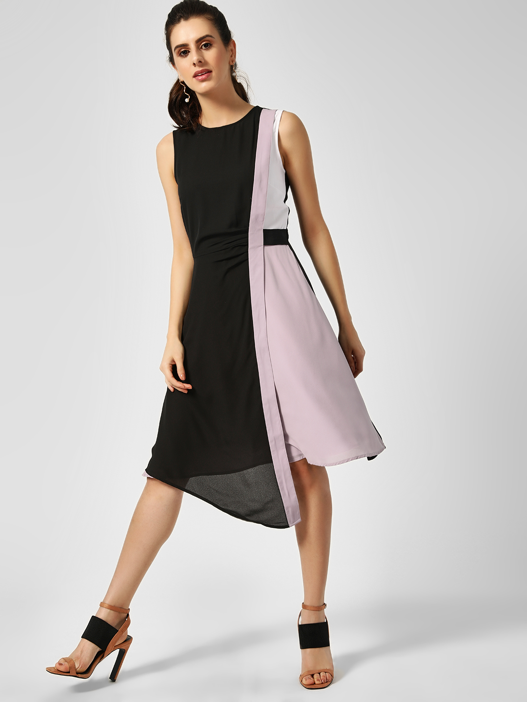 KOOVS Multi Colour Block Asymmetric Dress 1