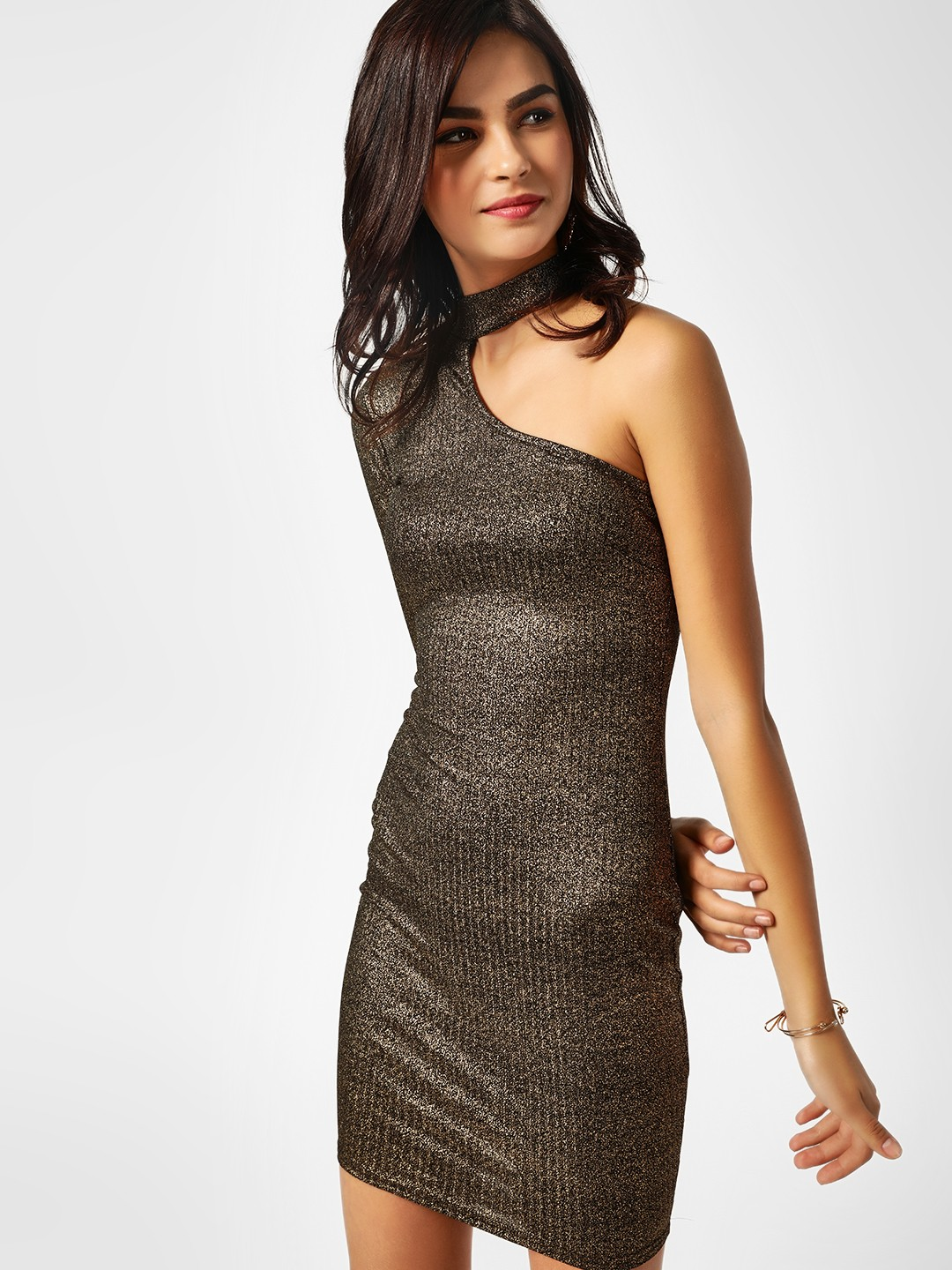 Missi Clothing Gold One Shoulder Metallic Dress 1