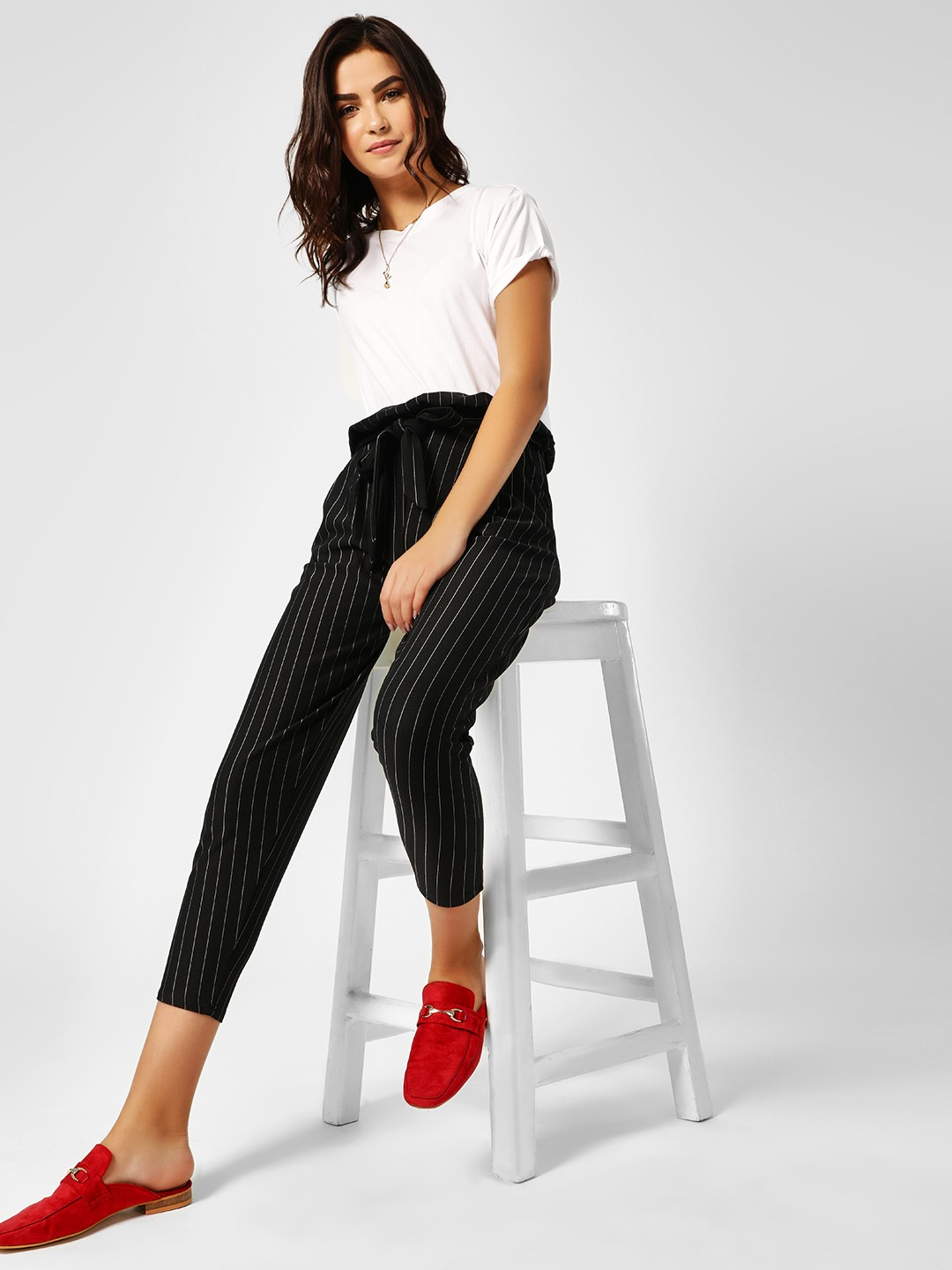 Missi Clothing Black Striped Paperbag Cigarette Trousers 1