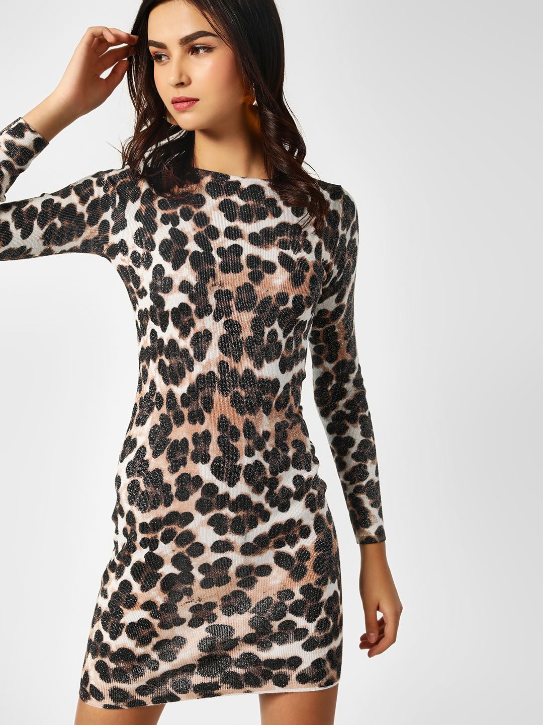 Missi Clothing Multi Animal Print Shimmer Bodycon Dress 1