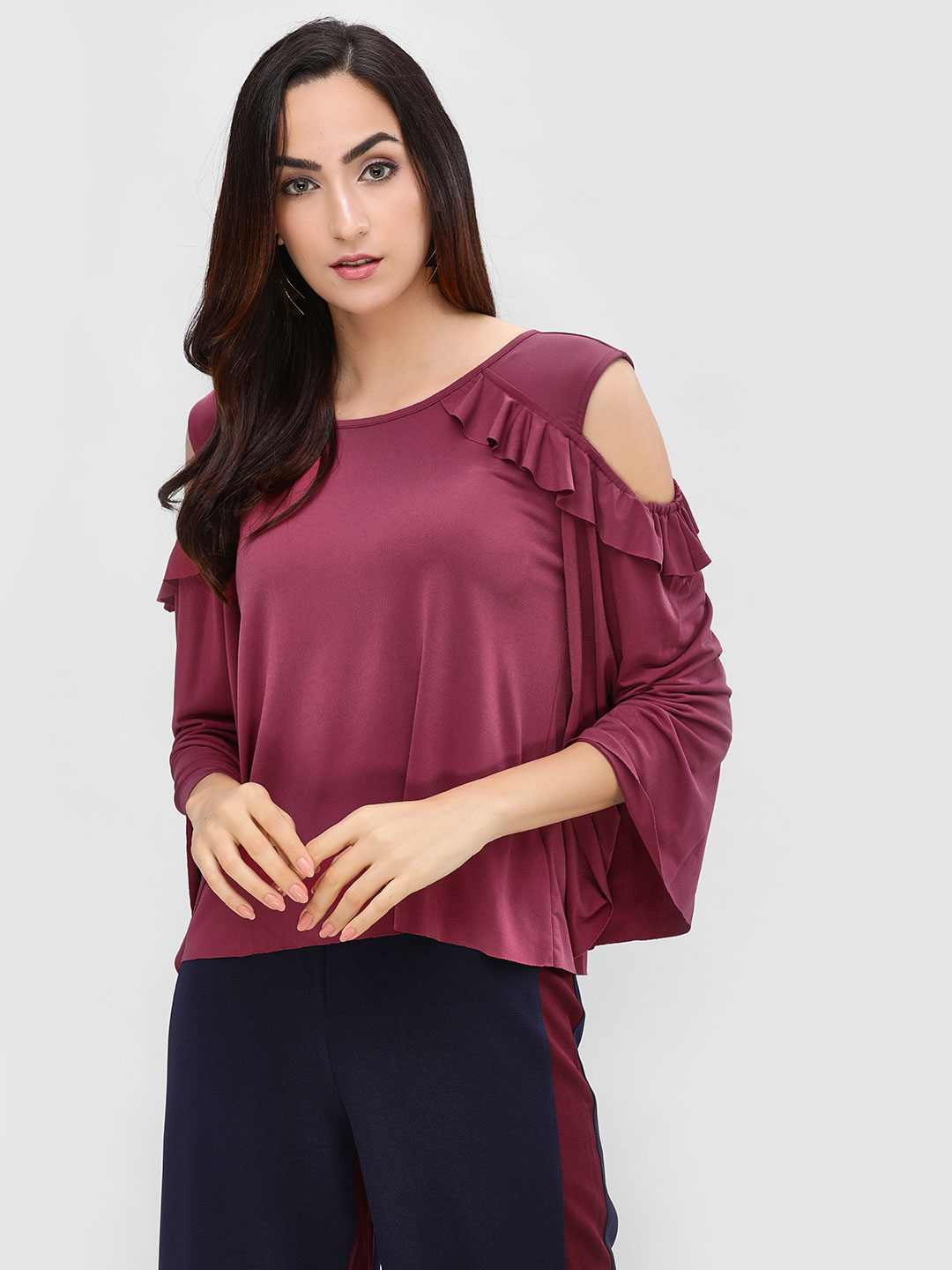 Cover Story Wine Frill Cold Shoulder Top 1